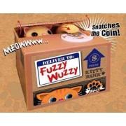 Animated Fuzzy Wuzzy Sly Kitty Cat Peek-A-Boo Mechanical Novelty Piggy Bank