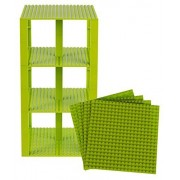 """Premium Lime Green Stackable Base Plates - 4 Pack 6"""" x 6"""" Baseplate Bundle with 30 Lime Green Bonus Building Bricks (LEGO Compatible) - Tower Construction"""