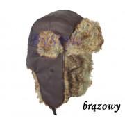 Czapka uszatka z futerkiem zimowa ciepła