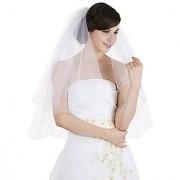 2T 2 Tier Scallop Beaded Edge Bridal Wedding Veil - Ivory Elbow Length 30