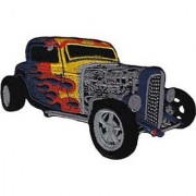 Application Blue Hot Rod with Flames Patch