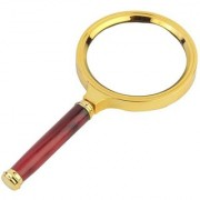 Evershine Gifts And Household Antique Handheld Magnifier Magnifying Glass Lens (80mm) Maroon-Gold