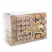 Set 100 Globuri de Craciun cu Varf de Brad model Stea auriu