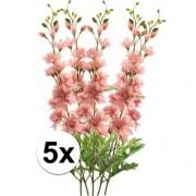 Bellatio flowers & plants 5x Roze Ridderspoor kunstbloemen tak 70 cm