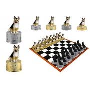 Black & Tan German Shepherd Dog Hand-painted Chess Set Pieces