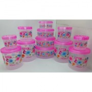 Airtight With Twister Plastic Containers Set of 12 PCS (2500ml 2400ml 1800ml 1600ml 1000ml 800ml 500ml 400ml) Pink