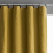 Am.pm Cortinado em linho lavado opaco, passadeiras em pele, PrivateAmarelo-Cari- 140 x 350 cm