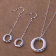 Set placat argint colier cu pandantiv oval si cercei