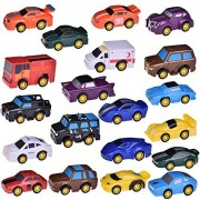 Fun Little Toys 20 Assorted Pull Back Vehicles, Toy Cars Playset, Construction Car and Raced Trucks for Kid Toddlers Gift, Diecast Vehicle Play Set, Party Favors