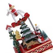 Tradico® Wind up Christmas Music Tree Box w/Snowman Bear Kid Toys Xmas Gift Rotating