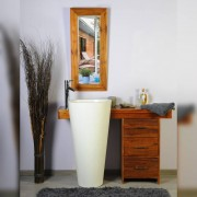 Saniteck Salle bain teck 120 cleopatra blanc tiroirs