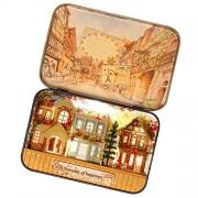 Phenovo Novelty Mini DIY LED Dollhouse in Box Miniature Doll House Kits Kids Present - Dream Town