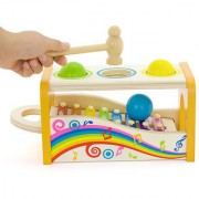 Emob Wooden Knocked the Ball Multifunctional Musical 8 Tones Xylophone Toy for Kids
