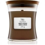 Woodwick Amber & Incense lumânare parfumată cu fitil din lemn 275 g
