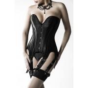 Set Erotic Corset Portjartier si Bikini, Grey Velvet