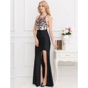 Black Embroidery Halter Evening Gown