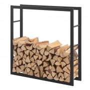 [en.casa] Stalak za Drva 100x100x25cm Držač za Drva za Ogrjev - Okvir Čelik Crni
