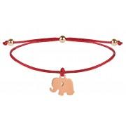 Troli Brățară șnur cu charm Elephant - roșie/bronz