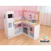 Grand Gourmet Corner Wooden Kitchen Play Set with 4 Piece Accessories
