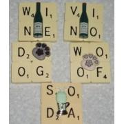 Scrabble Brooch Pendant Word Dog Cat Woof Soda Wine Vino