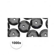 Rayher hobby materialen 1000x Pailletten zwart 6 mm