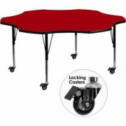 Flash Furniture Flower-Shaped Activity Table - Red, 60Inch W x 60Inch D x 17 3/8-25 3/8Inch H, Model XUA60FLRRDTPC