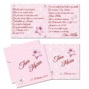 Invitatie pentru botez roz, personalizata cu text