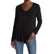 Karen Kane Henley Long Sleeve Tunic T-Shirt BLK