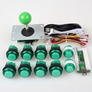 EG Starts Arcade DIY Kits Parts USB Encoder To PC Games 5Pin Joystick + 2x 24mm + 8x 30mm 5V LED Illuminated Push Button For Arcade PC Game Consoles Mame Raspberry pi 2 3 Controllers & Green