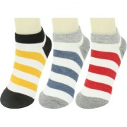 Neska Moda 3 Pair Unisex Multicolor Cotton No Show Loafer Socks S494