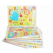 Joc magnetic din lemn 2 in 1 Puzzle si Cifre-Operatiuni