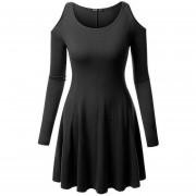 Vestido Casual E-Thinker mujer elegante casual con hueco de hombro - Negro