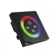 Vezetékes fali vezérlő RGB LED szalaghoz, 3x4A, 12-24VDC, fekete