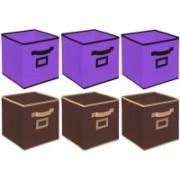 Billion Designer Non Woven 6 Pieces Small Foldable Storage Organiser Cubes/Boxes (Coffee & Purple) - CTKTC35204 CTKTC035204(Coffee & Purple)