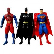 Spiderman Superman Batman Figurine Adjustable Body With LED Light.(21 cms)