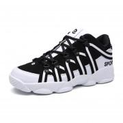 Zapatillas De Deporte Para Hombre Suelas Gruesas Casual Respirable Zapatos -Negro