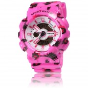 ER SANDA Leopard Flash Doble Pantalla Alumnas Deportes Impermeable Reloj -Colorido Rosa Roja