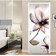 LeiDyWer Pegatinas de puerta de tulipán 3d para puertas interiores pegatinas de pared de puerta vinilo extraíble autoadhesivo decoración de muebles-95cmx215cm