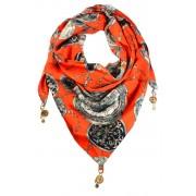 Clock trojúhelníkový šátek s potiskem oranžová