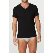 Parker & Max Classic Cotton Stretch V Neck Short Sleeved T Shirt Black PMFPCS-TVN1