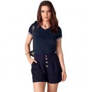 Camiseta Seeder Feminina Gola V Azul