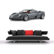 Wall Sticker Grey Sport Car Design (Cover Area :- 36 X 13 inch)