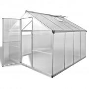 vidaXL Seră din aluminiu ranforsat cu cadru la bază, 6,05 m²