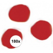 Rayher hobby materialen 180x Rode decoratieve pompons 15 mm