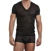 L'Homme Invisible Rubik Kubik V Neck Short Sleeved T Shirt Black MY61D-KUB-001