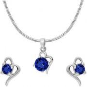 Mahi with Crystal Elements Dark Blue Victorian Heart Rhodium Plated Pendant Set for Women NL1104141RDBlu
