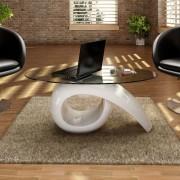 vidaXL Coffee Table with Oval Glass Top High Gloss White