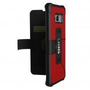 Urban Armor Gear Metropolis - удароустойчив хибриден кейс тип портфейл за Samsung Galaxy S8 Plus (червен)