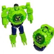 Transformer Robot Toy Convert to Digital Wrist Watch for Kids Avengers Robot Deformation Watch(Hulk Toy Figures Plus Watch)