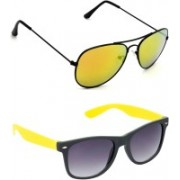 Hrinkar Aviator Sunglasses(Golden, Grey)